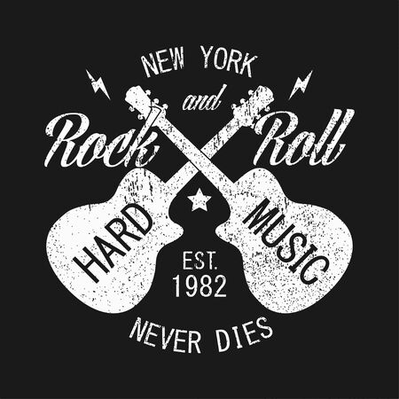 New York rock and roll grunge print for apparel with guitar. Typography emblem for t-shirt with slogan: Hard music - never dies. Design for vintage clothes. Vector illustration. Illustration