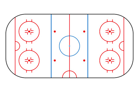 Ice hockey rink. Mockup background field for sport strategy and poster. Vector illustrator. Çizim