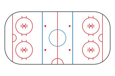 Pista di hockey su ghiaccio. Campo di sfondo mockup per strategia sportiva e poster. Illustratore di vettore. Vettoriali