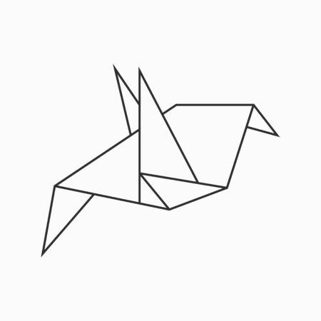 Origami bird. Line geometric figure for art of folded paper. Vector illustration.