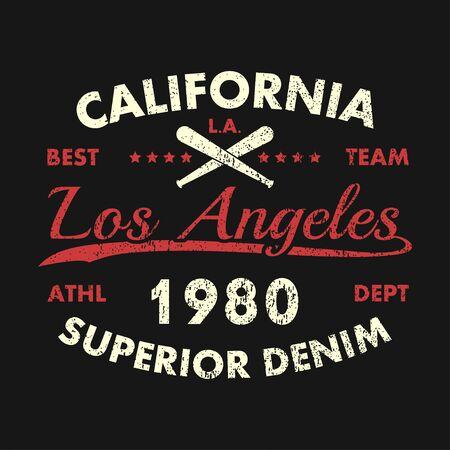 California, Los Angeles grunge print for apparel with baseball bat. Superior denim. Typography emblem for t-shirt. Design for vintage athletic clothes. Vector illustration. Vetores