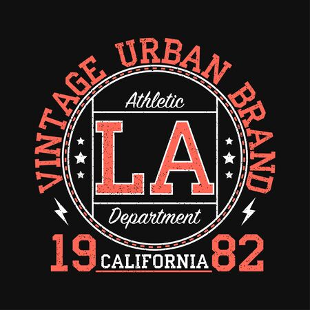 Los Angeles, California vintage urban brand graphic for t-shirt. Original clothes design with grunge. Authentic apparel typography. Retro sportswear print. Vector illustration.