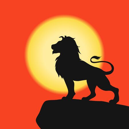 Lion on a rock - black silhouette on background of the sunset. African Safari. Vector illustration.