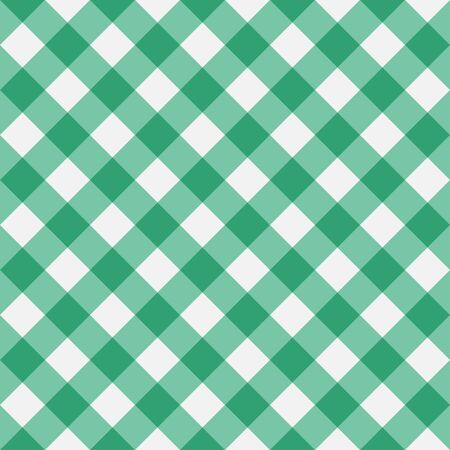 Green Gingham seamless pattern. Diagonal stripes. Texture from rhombus for plaid, tablecloths, clothes, shirts, dresses, paper, bedding, blankets and other textile products. Vector illustration.