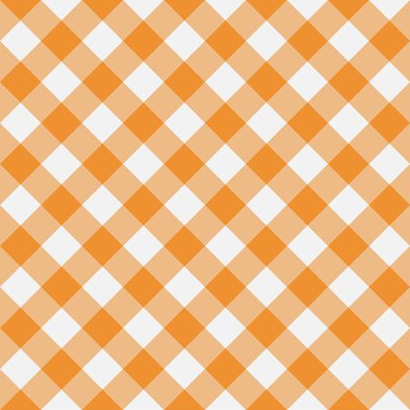 Orange Gingham seamless pattern. Diagonal stripes. Texture from rhombus for plaid, tablecloths, clothes, shirts, dresses, paper, bedding, blankets and other textile products. Vector illustration.