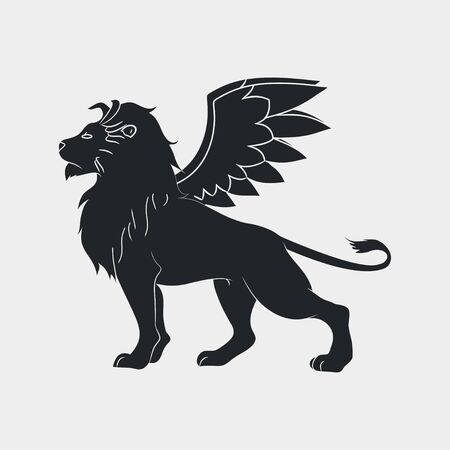 Lion with wings icon. Winged leo, logo template. Vector illustration. Иллюстрация