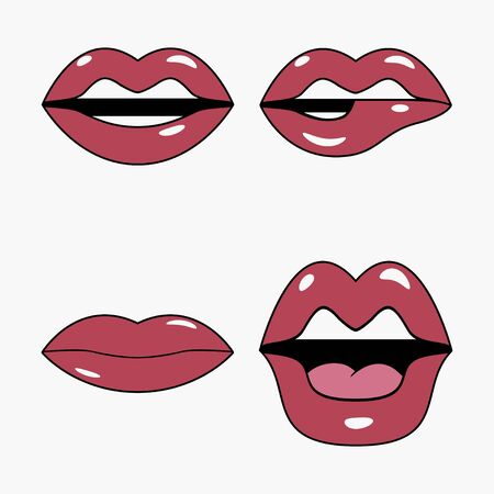Lips set. Set of stickers and patches in pop art and retro cartoon style. Female comic mouth. Vector illustration.