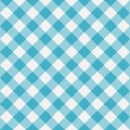 Blue Gingham seamless pattern. Diagonal stripes. Texture from rhombus for plaid, tablecloths, clothes, shirts, dresses, paper, bedding, blankets and other textile products. Vector illustration. Illustration