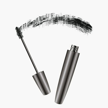 Mascara Brush Strokes. Realistic womens cosmetics for eyes. Banner for magazine, advertising. Vector illustration.