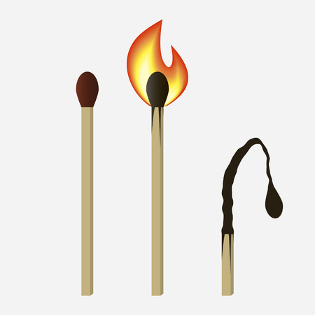 Match set - unused, burning and burned matchsticks. Isolated on white background. Vector illustration.