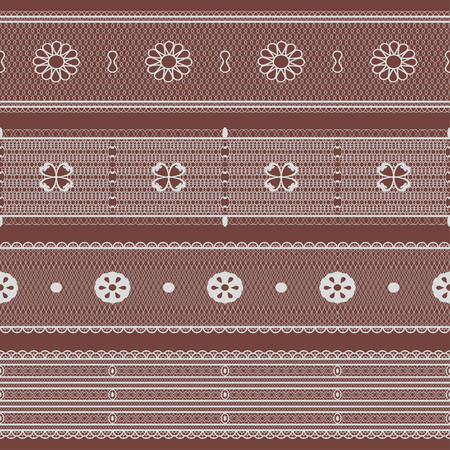 Lace set. Seamless lacework ribbons. Vector illustration.