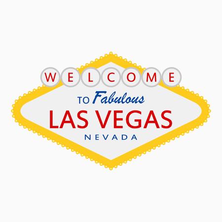 Bienvenue à Fabulous Las Vegas, Nevada - signe avec des lampes d'éclairage. Enseigne rétro classique dans un style plat. Illustration vectorielle.