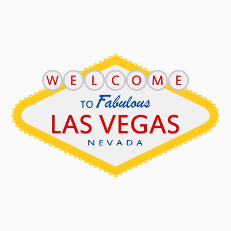 Welcome to Fabulous Las Vegas, Nevada - sign with illumination lamps. Classic retro signboard in flat style. Vector illustration. Ilustração