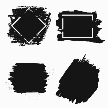 Ink brush banner. Black paint frames for text. Vector illustration.  イラスト・ベクター素材