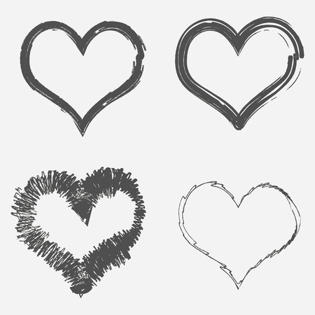 Set of grunge hearts. Abstract brush drawing. Vector illustration. Ilustrace