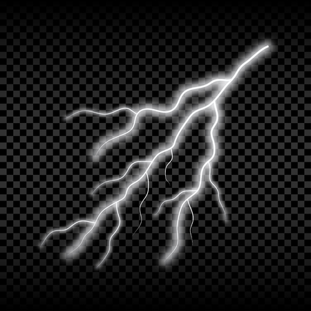 Realistic lightning. Bright electric light, thunderstorm glowing effect. Vector illustration.