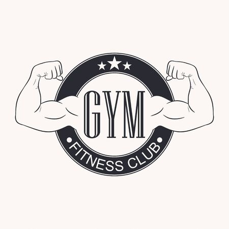 Gym. Gymnasium emblem. Fitness club logo. Typography graphic for t-shirt, design of sportswear apparel. Bodybuilding label. Vector illustration.
