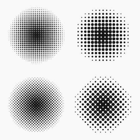 Conjunto de efectos de semitono de círculo. Elemento de semitono de puntos monocromáticos. Ilustración de vector. Ilustración de vector