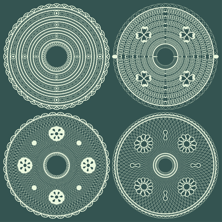 Lace round napkins abstract set. Vector illustration.