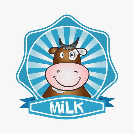 Milk logo. Template design label, emblem. Print for packaging with a cow. Vector illustration.