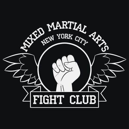 Fight Club logo. New York, MMA, Mixed Martial Arts. Fighting typography for design clothes, t-shirts, apparel.