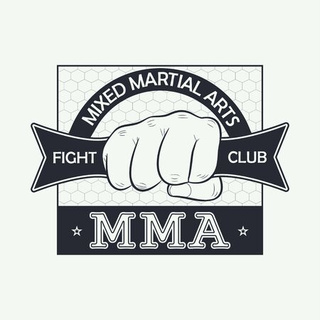 MMA. Mixed martial arts. Fight club logo. Print for design clothes, t-shirt stamp, typography of athletic apparel. Vector illustration.  イラスト・ベクター素材