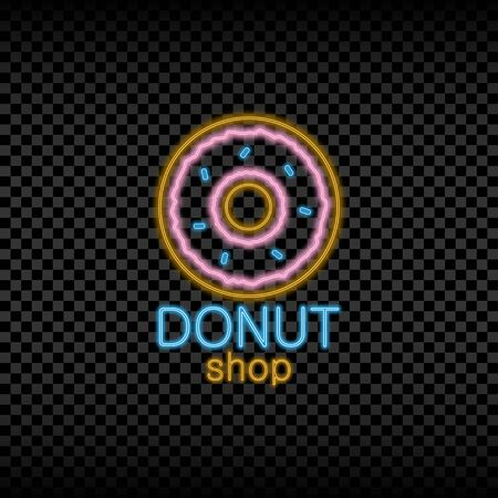 Neon light sign of donut shop. Glowing and shining bright signboard for bakery logo. Vector illustration.