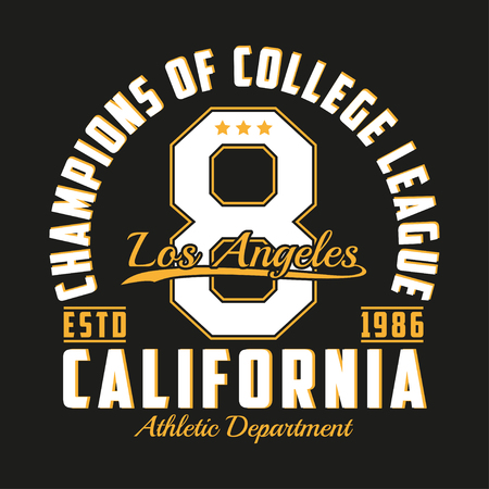 Los Angeles, California typography for design clothes. Graphics for print product, number t-shirt, vintage sport apparel. Vector illustration.