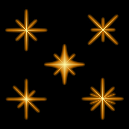 Glowing light effect stars bursts with sparkles. Neon magical starburst. Illuminated flashes sunburst. Vector illustration.