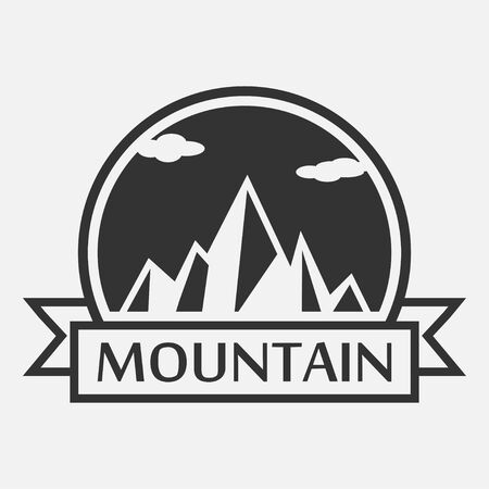 Mountain logo. Template for tourism, alpinism, mountaineering, hiking and camping labels with ribbon. Vector illustration.