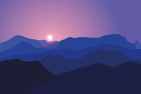 Mountains at sunrise. Vector background with a landscape of blue hills and rocks.