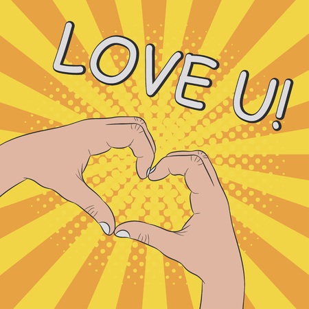 Hands in heart shape. Gesture - LOVE YOU. Comic illustration in pop art retro style at sunburst background with dot halftone effect. Vector.