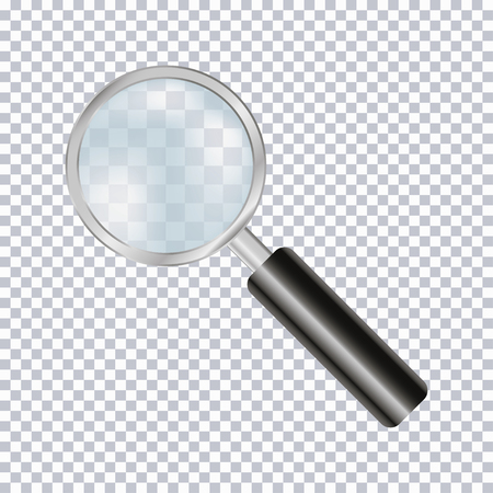 Magnifying glass realistic isolated on transparent background. Vector illustration.