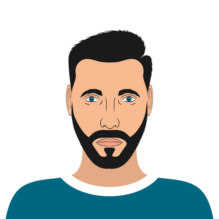Portrait of a young man with beard and hair style. Male avatar. Vector illustration.