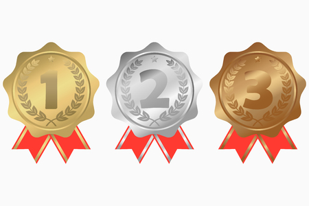 Gold, silver and bronze medals with ribbon, star and laurel wreath. First, second and third place awards. Vector illustration.