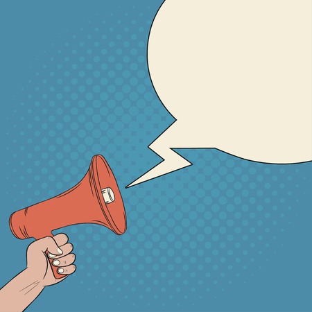 Megaphone in hand and blank bubble speech. Loudspeaker. Comics illustration in pop art retro style at blue background with dot halftone effect. Vector.