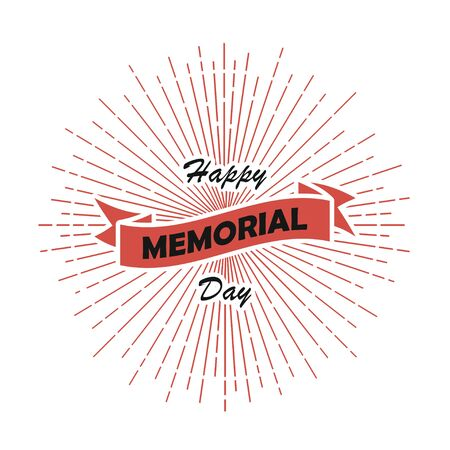 Happy Memorial Day card. Template of poster with sunburst and ribbon. National american holiday. Vector illustration.