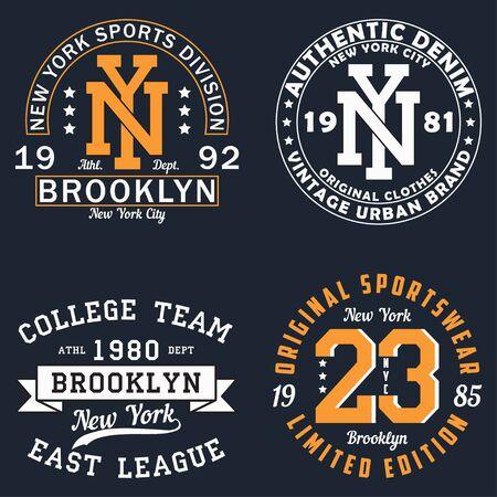 Set of New York graphic for t-shirt. Original clothes design. Vintage typography print for apparel. Vector illustration. Vektorové ilustrace