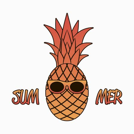 Summer graphics with pineapple in sunglasses.