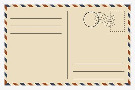 Postcard. Vintage template. Retro postage card. Vector illustration.