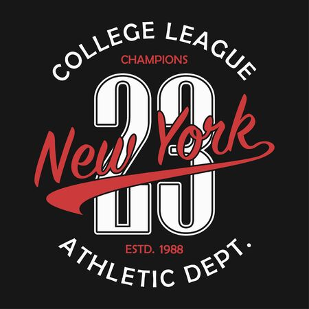 New York typography for number t-shirt. Original sportswear print. Athletic apparel typography. Graphic for design clothes. Vector illustration.