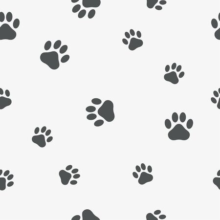 Paw seamless pattern. Background with footprint of an animal - cat, dog, bear. Vector illustration.