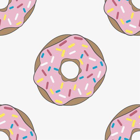 Seamless pattern donut with pink glaze. Background. Vector illustration.