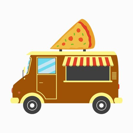 Pizza truck. Fast pizzeria van with signboard in form of pizza slice. Vector illustration in flat style.