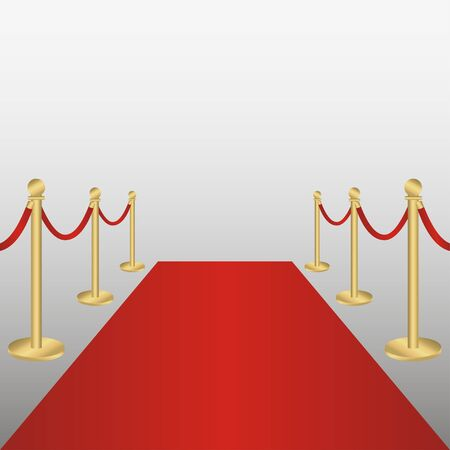 Red carpet with gold barriers rope. Corridor for VIP persons, celebrations, ceremonies, awarding. Vector illustration.