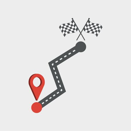 Road and location icon. Path with mapping pin, navigation. Finish flag. Vector illustration.