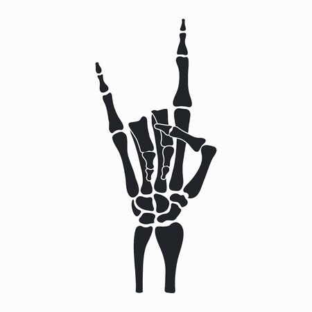 Rock skeleton hand. Heavy metal sign - horns. Rock-n-roll gesture from fingers bones. Vector illustration.