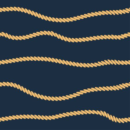 Rope line seamless pattern. Background with marine rope stripes. Vector illustration.