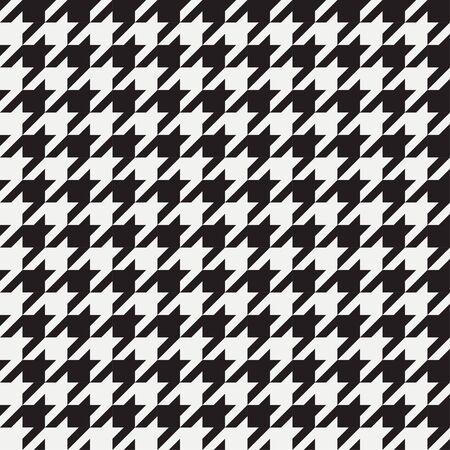 Modello senza cuciture pied de poule. Sfondo per abbigliamento e altri prodotti tessili. Sfondo bianco e nero. Illustrazione vettoriale. Vettoriali
