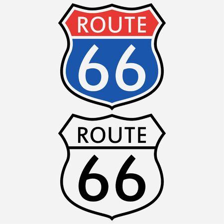Ensemble de panneaux de la route 66. Le premier panneau de signalisation en Amérique. Illustration vectorielle. Vecteurs